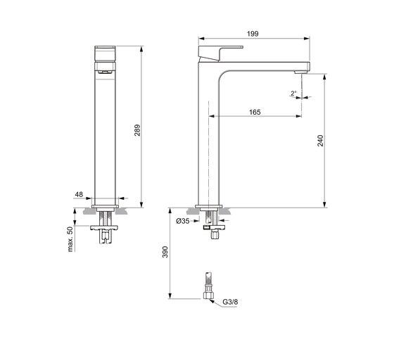 Edge Waschtischarmatur mit verlängertem Sockel ohne Ablaufgarnitur by Ideal Standard | Wash basin taps
