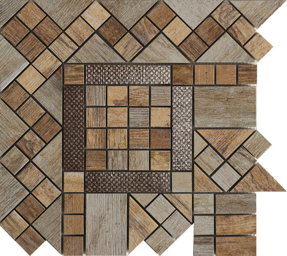 Metalwood Beige | Fascia Angolo de Rondine | Mosaïques céramique