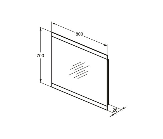 Mirror & Light Spiegel 800 mm mit 2-seitigem Ambientelicht (44,3 W) by Ideal Standard | Mirrors