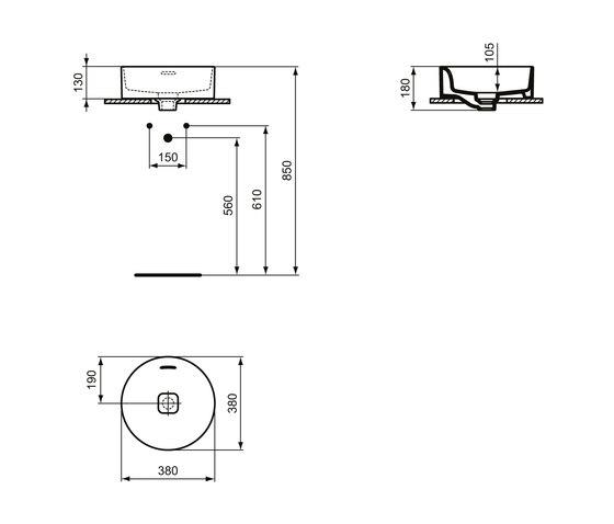 Strada II Aufsatzwaschtisch rund Ø380 mm, mit Überlauf, ohne Hahnloch by Ideal Standard | Wash basins