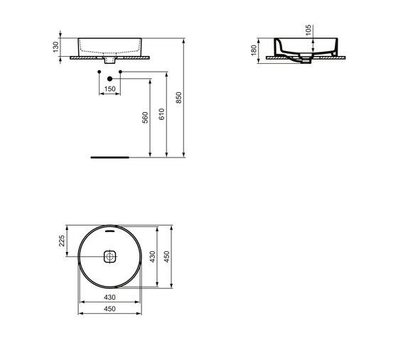 Strada II Aufsatzwaschtisch rund Ø450 mm, mit Überlauf, ohne Hahnloch by Ideal Standard | Wash basins