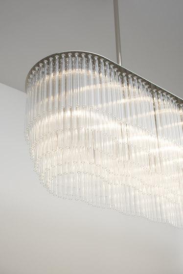 Linear Chandelier 1479mm polished nickel by Tom Kirk Lighting | Chandeliers