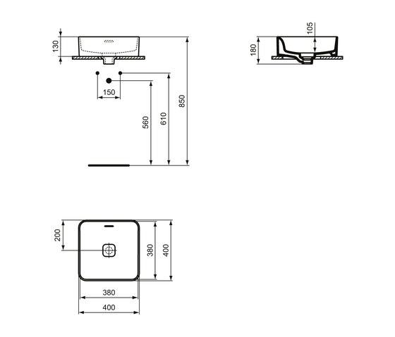 Strada II Aufsatzwaschtisch quadratisch 400 x 400 mm, mit Überlauf, ohne Hahnloch by Ideal Standard | Wash basins