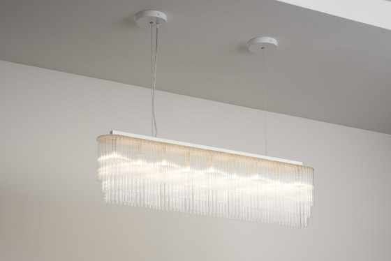 Linear Chandelier Thin 1010mm powdercoated by Tom Kirk Lighting | Chandeliers