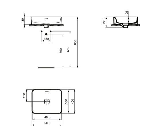Strada II Aufsatzwaschtisch 500 x 400 mm, mit Überlauf, ohne Hahnloch by Ideal Standard | Wash basins