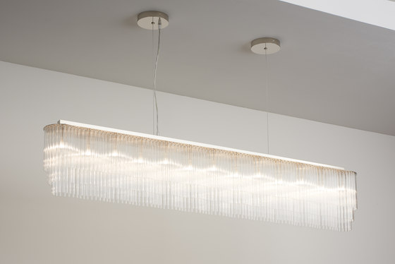 Linear Chandelier Thin 1445mm polished nickel by Tom Kirk Lighting | Ceiling suspended chandeliers