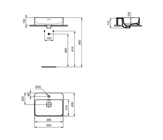 Strada II Aufsatzwaschtisch 500 x 400 mm, mit Überlauf. mit Hahnloch by Ideal Standard | Wash basins