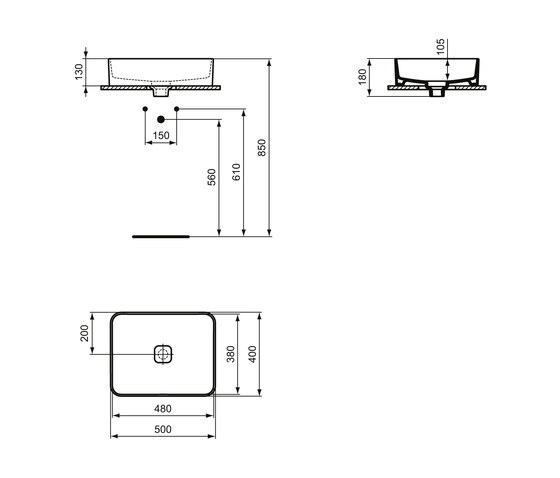 Strada II Aufsatzwaschtisch 500 x 400 mm, ohne Überlauf, ohne Hahnloch by Ideal Standard | Wash basins