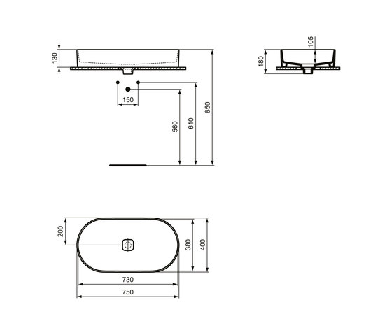 Strada II Aufsatzwaschtisch oval 750 x 400 mm, ohne Überlauf by Ideal Standard | Wash basins