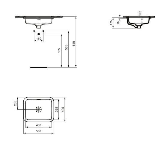 Strada II Unterbauwaschtisch 500 mm by Ideal Standard | Wash basins