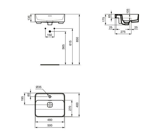 Strada II Halbeinbauwaschtisch 550 mm by Ideal Standard | Wash basins
