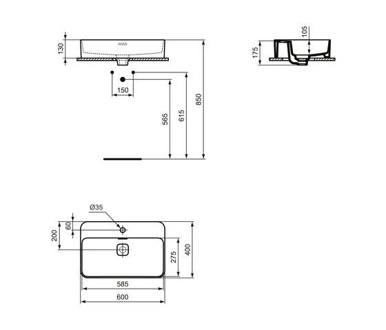 Strada II Aufsatzwaschtisch 600 x 400 mm, mit Überlauf, mit Hahnloch by Ideal Standard   Wash basins