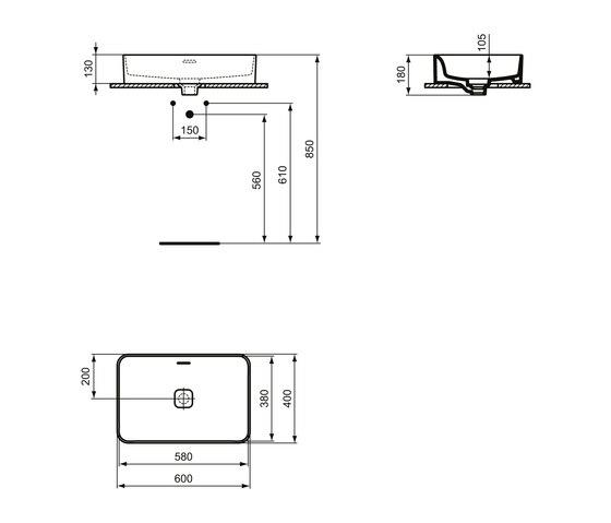 Strada II Aufsatzwaschtisch 600 x 400 mm, mit Überlauf, ohne Hahnloch by Ideal Standard | Wash basins