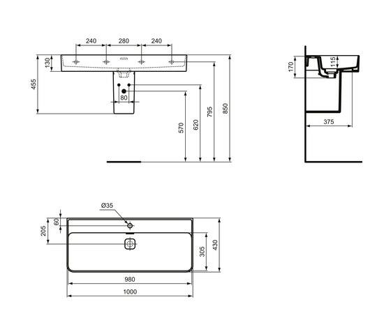 Strada II Waschtisch 1000 mm by Ideal Standard | Wash basins