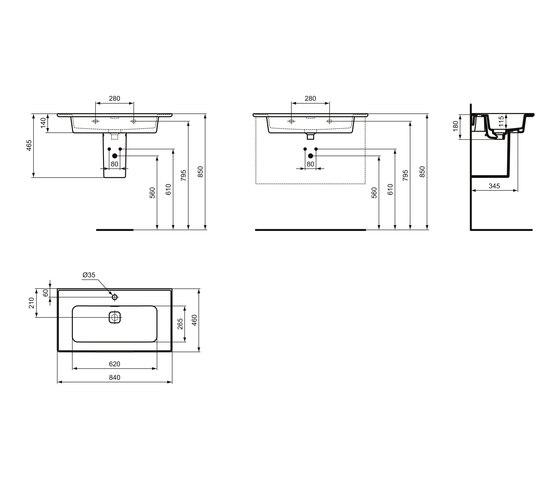 Strada II Möbelwaschtisch 800 mm by Ideal Standard   Wash basins