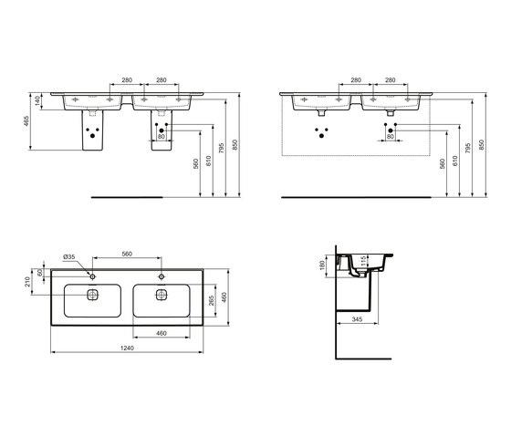 Strada II Möbeldoppelwaschtisch 1200 mm by Ideal Standard | Wash basins