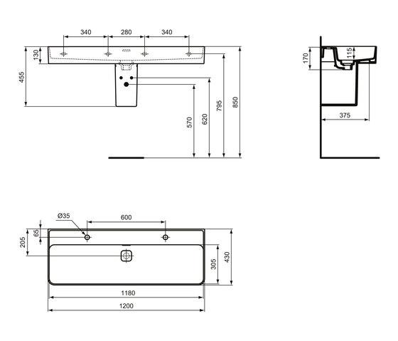 Strada II Waschtisch 1200 mm (2 Hahnlöcher im Abstand von 600 mm durchgestochen) by Ideal Standard | Wash basins