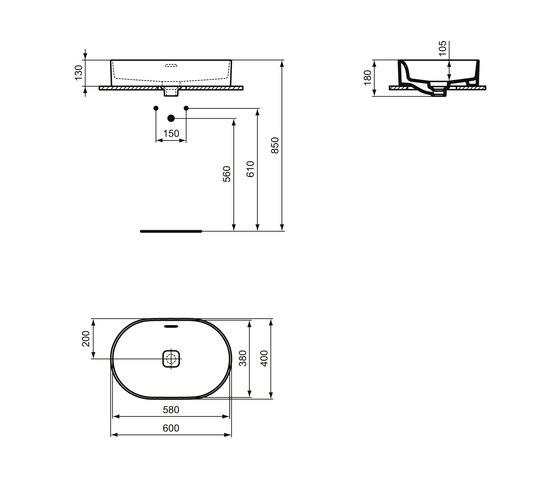 Strada II Aufsatzwaschtisch oval 600 x 400 mm, mit Überlauf by Ideal Standard | Wash basins