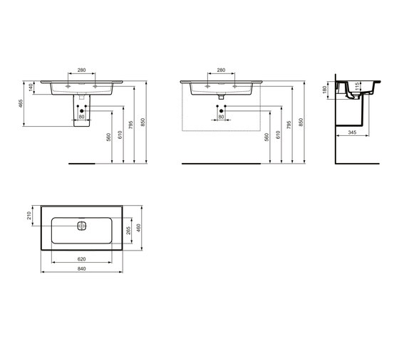 Strada II Möbelwaschtisch 800 mm, ohne Hahnloch by Ideal Standard   Wash basins