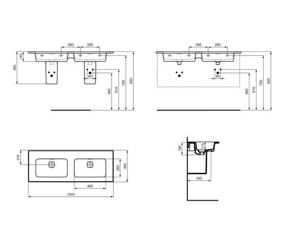 Strada II Möbeldoppelwaschtisch 1200 mm, ohne Hahnloch by Ideal Standard | Wash basins