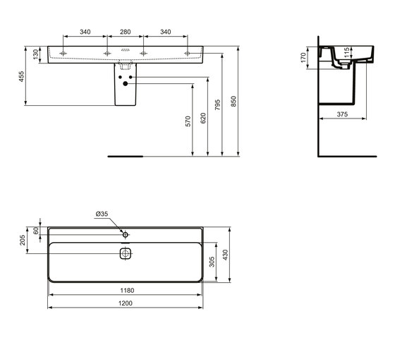 Strada II Waschtisch 1200 mm, Unterseite geschliffen by Ideal Standard   Wash basins