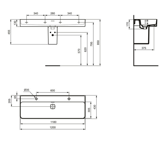 Strada II Waschtisch 1200 mm, Unterseite geschliffen (2 Hahnlöcher im Abstand von 600 mm durchgestochen) by Ideal Standard | Wash basins