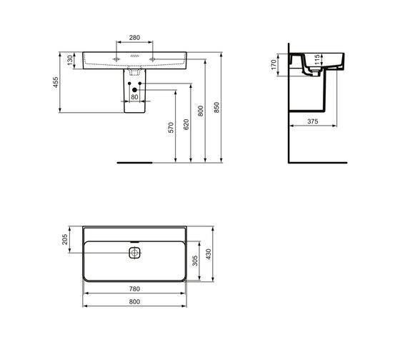 Strada II Waschtisch 800 mm, ohne Hahnloch, Unterseite geschliffen by Ideal Standard | Wash basins