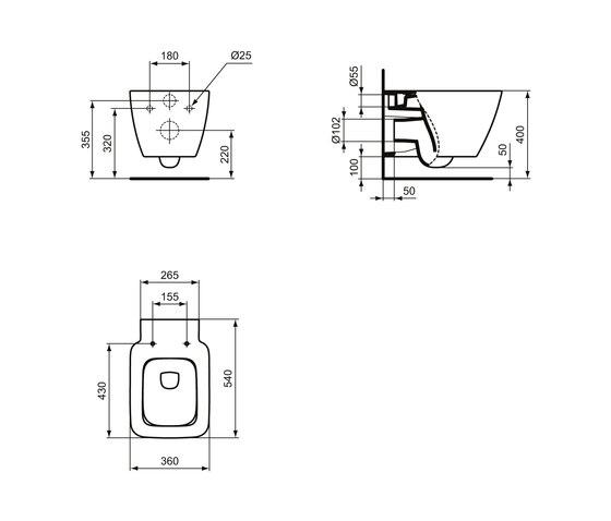 Strada II Wandtiefspül-WC AquaBlade by Ideal Standard | WC