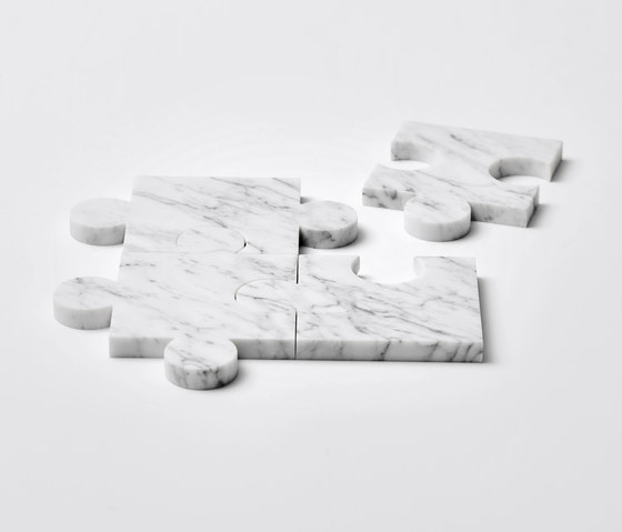 Stonecut Puzzle Coasters White by tre product | Coasters / Trivets