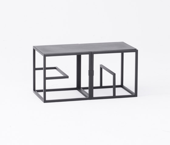 Text Block Metal Black Double Set by tre product | Shelving