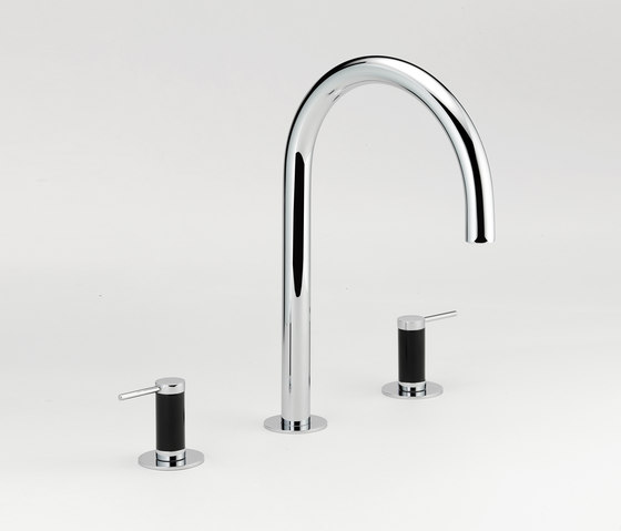 Anoa | Rim mounted three-hole basin mixer - High spout by THG Paris | Wash basin taps