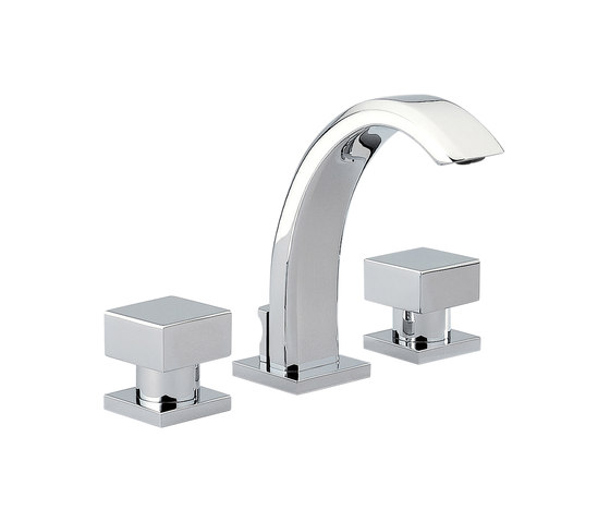 Cubica | Rim mounted 3-hole basin mixer by THG Paris | Wash basin taps