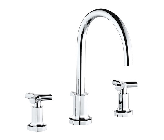 Les Ondes | Rim mounted 3-hole basin mixer by THG Paris | Wash basin taps