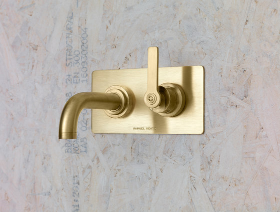 LMK Pure Wall Mounted Lavatory Mixer - Urban Brass by Samuel Heath | Bath taps