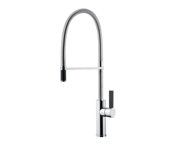 Lab-Two | Single Hole Kitchen Sink Mixer With Swivel Spout With Black Handle by BAGNODESIGN | Kitchen taps