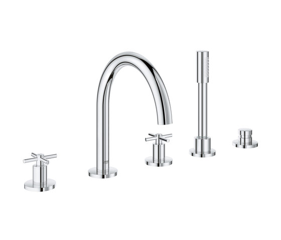 Atrio Tub filler with cross handles, handshower and diverter (5-hole) by GROHE | Bath taps