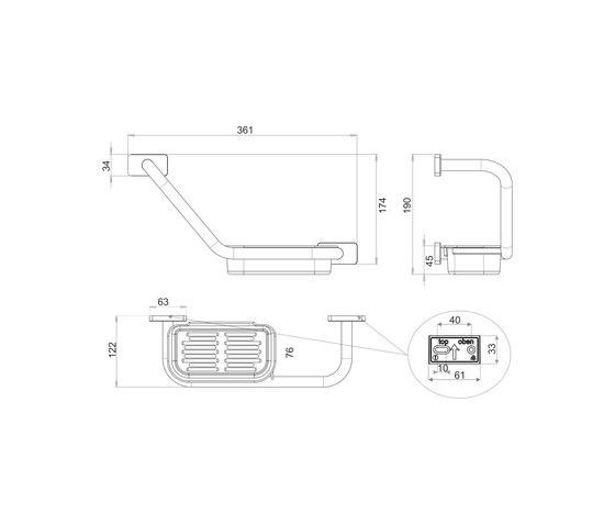 Chic 14 Bath handle, angled by Bodenschatz | Grab rails