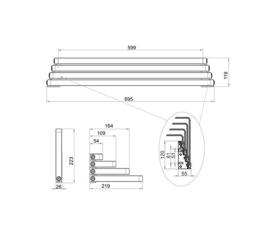 Creativa  Bath towel rail, quadruple, movable by Bodenschatz | Towel rails