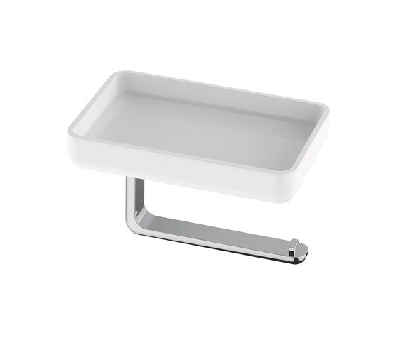Liv Toilet paper holder and storage dish by Bodenschatz | Bath shelves
