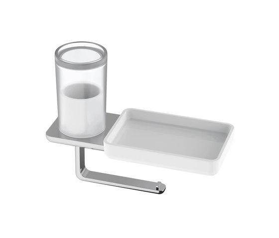 Liv Toilet paper holder with hygiene box+storage dish by Bodenschatz | Bath shelves