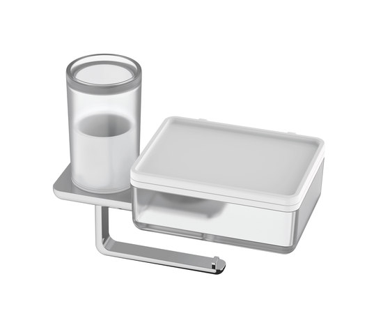 Liv Toilet paper holder with hygiene and wet wipes box by Bodenschatz | Paper roll holders