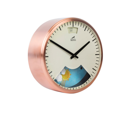 Weather Clock, Copper plated Frame by Bramwell Brown Clocks | Clocks