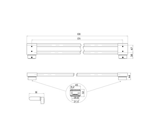 Simara Bath towel rail, double by Bodenschatz | Towel rails
