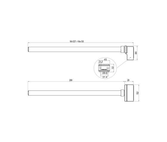Simara Towel rail, single, extendable by Bodenschatz | Towel rails