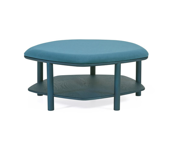 Pouf table basse Abel Large 84cm, bleu petrole de Hartô | Poufs
