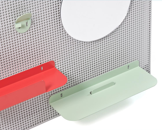 Wall system Alfred, light grey red and pastel green by Hartô | Shelving