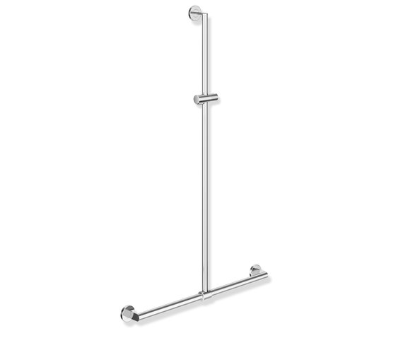 Rail with sideways adjustable vertical support bar and shower head holder chrome | 900.35.43240 by HEWI | Shower controls