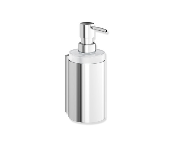 Soap dispenser with holder chrome | 900.06.00040 by HEWI | Soap dispensers
