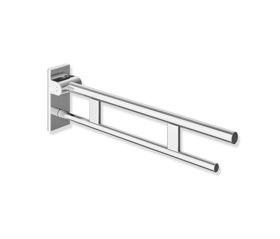 Hinged support rail Duo 600 mm projection chrome | 900.50.10140 di HEWI | Maniglioni bagno