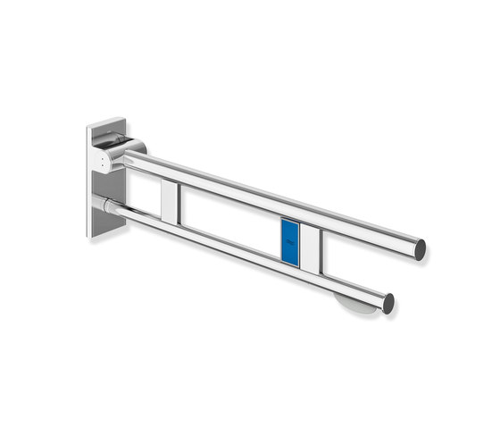 Hinged support rail Duo 750 mm projection chrome | 900.50.11540 di HEWI | Maniglioni bagno